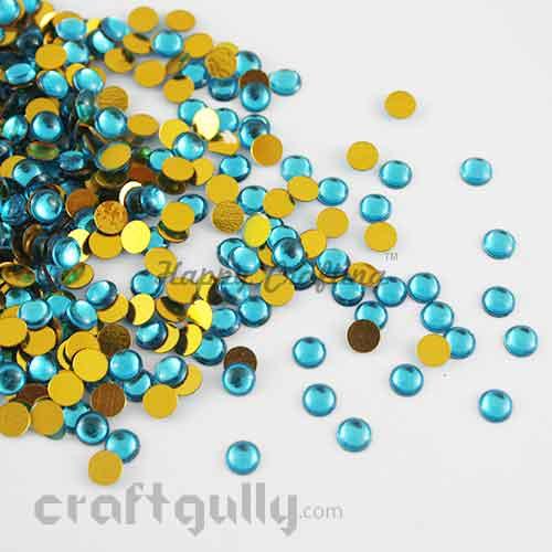 Kundan Stones 5mm - Round - Turquoise - 10gms