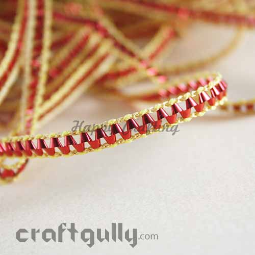 Designer Laces #7 - 6mm - Red With Golden Trim - 3 Meters