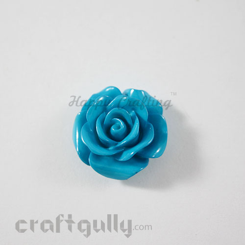 Resin Rose 22mm - Cerulean Blue - Pack of 1