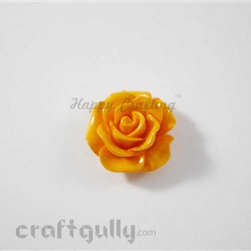 Resin Rose 22mm - Golden Yellow - Pack of 1