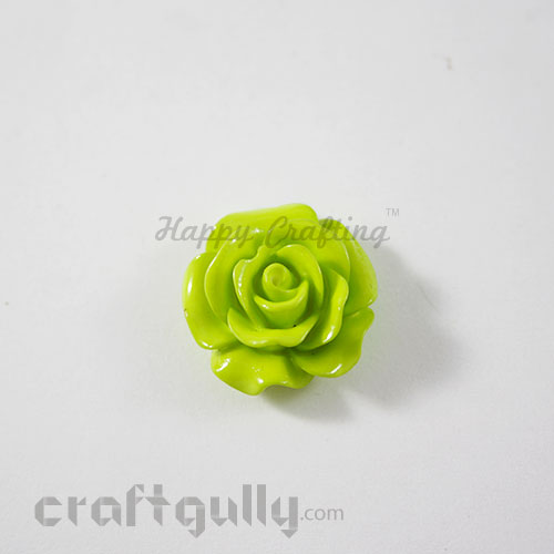 Resin Rose 22mm - Light Green - Pack of 1