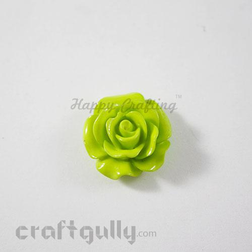 Resin Rose 22mm - Light Green - Pack of 1