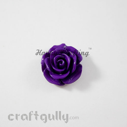 Resin Rose 22mm - Purple - Pack of 1