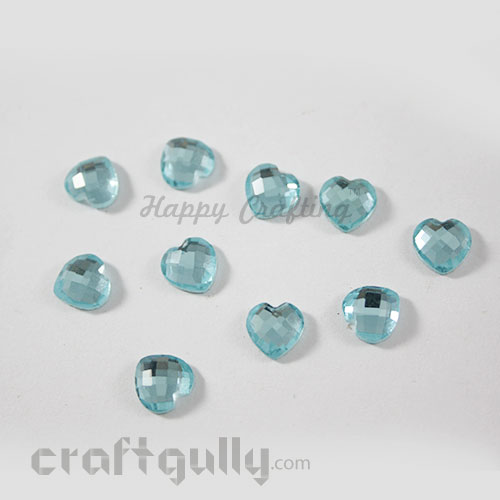 Flatback Glass 8mm - Heart Faceted - Light Blue - Pack of 10