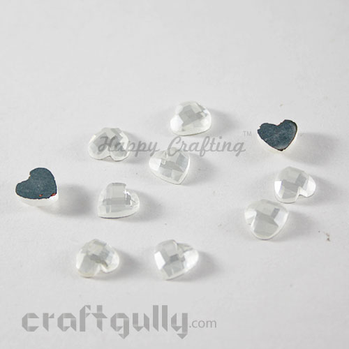 Flatback Glass 8mm - Heart Faceted - White - Pack of 10