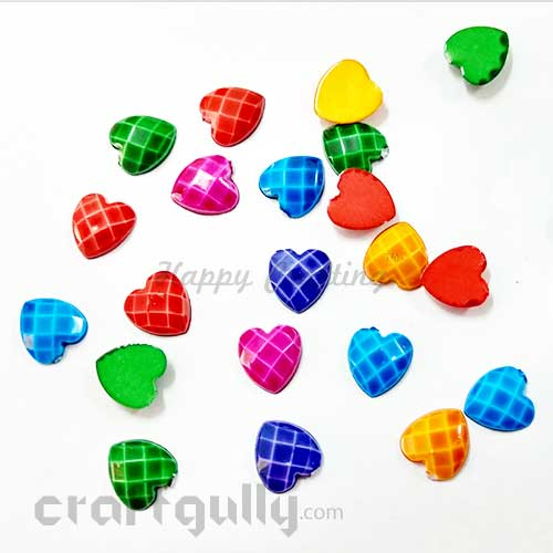 Flatback Acrylic 10mm - Heart Faceted - Assorted- Pack of 30