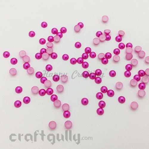 Flatback Pearls 6mm - Round - Dark Pink - Pack of 100