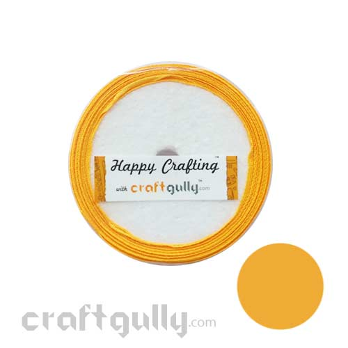 Satin Ribbons 1/4 inch - Golden Yellow - 8 meters
