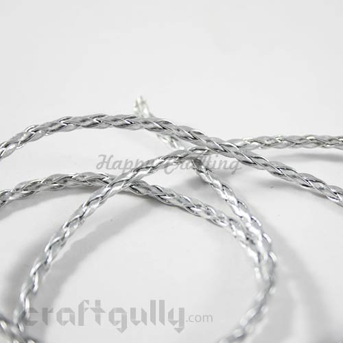 Cords - Faux Leather Braided - Silver - 36 inches