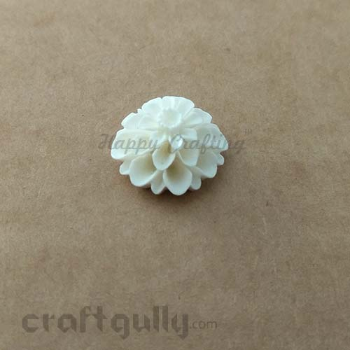 Flatback Resin 20mm - Flower #2 - Ivory - Pack of 1
