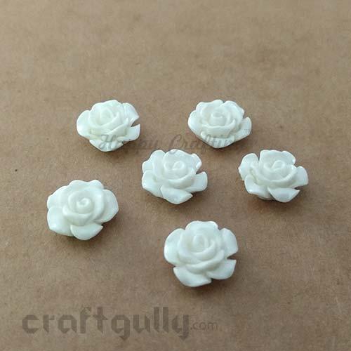 Flatback Resin 12mm - Flower #4 - Ivory - Pack of 6