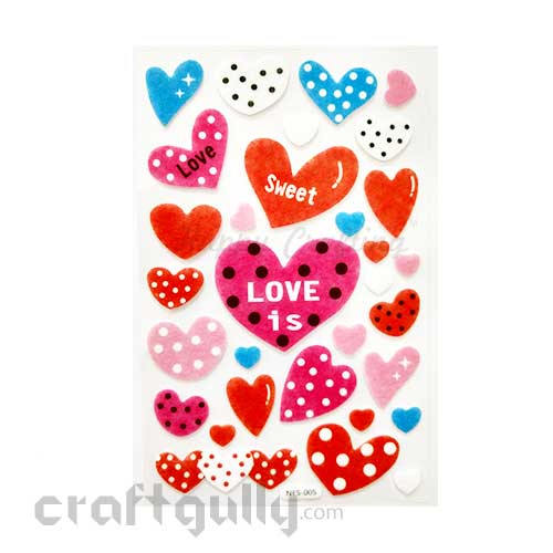 3D Felt Stickers #4 - Hearts