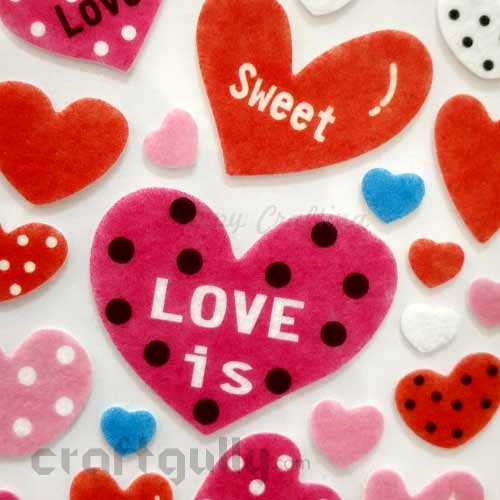 3D Felt Stickers #4 - Hearts