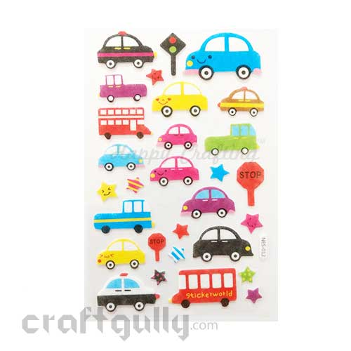 3D Felt Stickers #6 - Cars