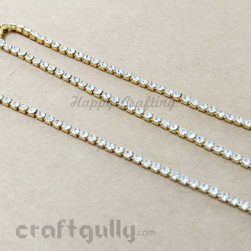 Rhinestone String 1.5mm - White - 18 Inches