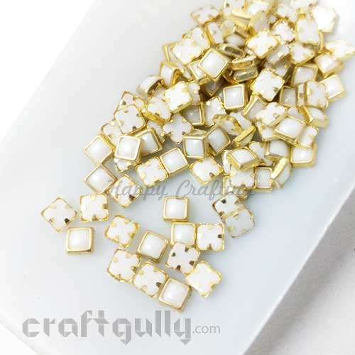 Flatback Pearl 4mm - Square With Prong Setting - Ivory and Golden - 10gms