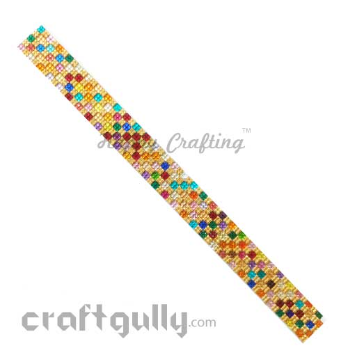 Rhinestone Stick-Ons #3 - 20mm Strip - Golden Assorted - Pack of 1