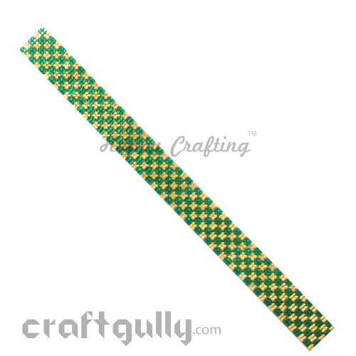 Rhinestone Stick-Ons #4 - 20mm Strip - Golden & Green - Pack of 1