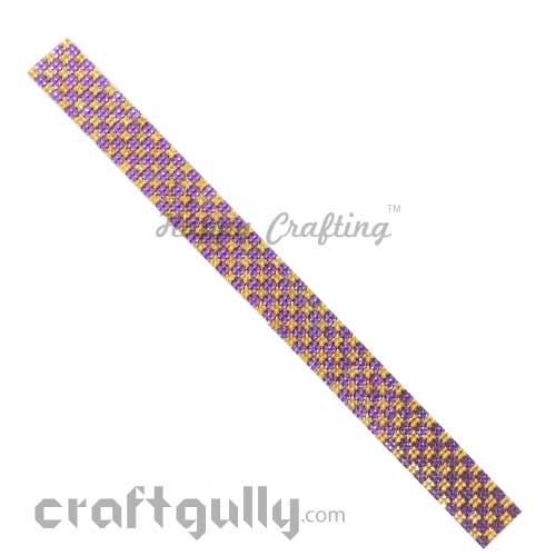 Rhinestone Stick-Ons #6 - 20mm Strip - Golden & Purple - Pack of 1