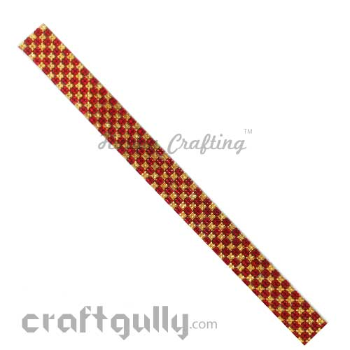 Rhinestone Stick-Ons #7 - 20mm Strip - Golden & Red - Pack of 1