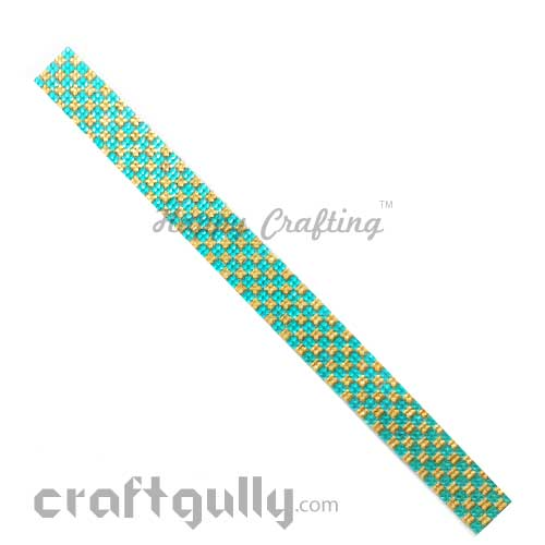 Rhinestone Stick-Ons #8 - 20mm Strip - Golden & Turquoise - Pack of 1