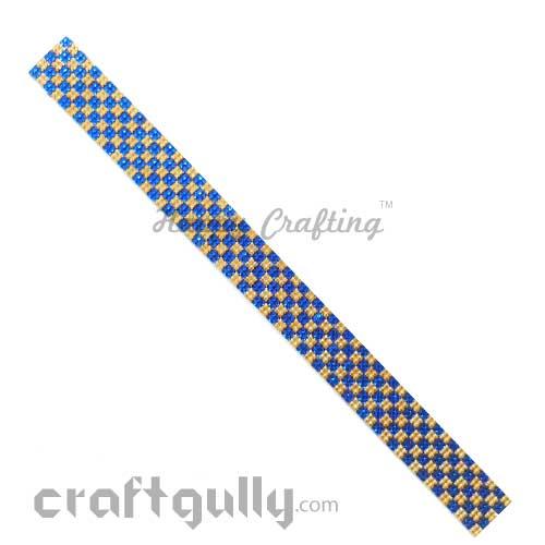 Rhinestone Stick-Ons #9 - 20mm Strip - Golden & Royal Blue - Pack of 1