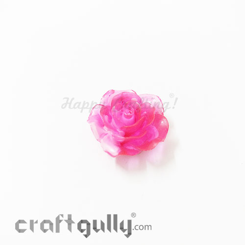 Resin Rose 24mm - Dual Tone - Dark Pink - Pack of 1