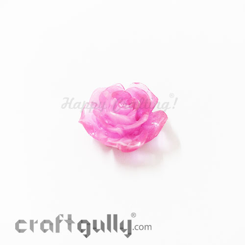 Resin Rose 24mm - Dual Tone - Rose Pink - Pack of 1