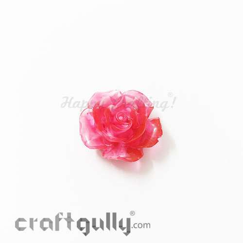 Resin Rose 24mm - Dual Tone - Red - Pack of 1