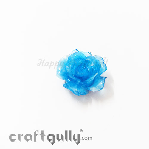 Resin Rose 24mm - Dual Tone - Blue - Pack of 1
