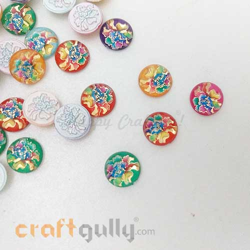 Flatback Acrylic 10mm Round - Design #1 - Random Assorted - Pack of 30