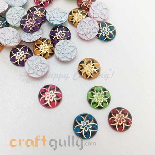 Flatback Acrylic 10mm Round - Design #2 - Random Assorted - Pack of 30