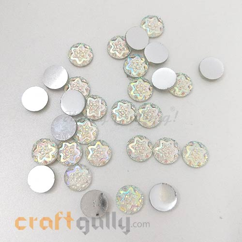 Flatback Acrylic 10mm Round - Design #8 - White Hologram - Pack of 30