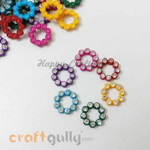 Flatback Acrylic 10mm Flower with Rhinestone - Design #6 - Assorted - Pack of 30