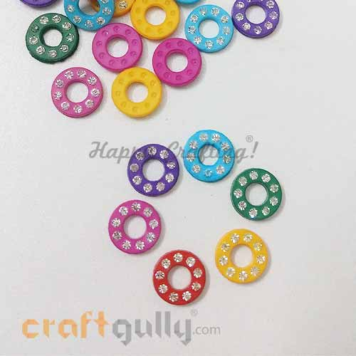 Flatback Acrylic 10mm Disc with Rhinestone - Design #7 - Assorted - Pack of 30