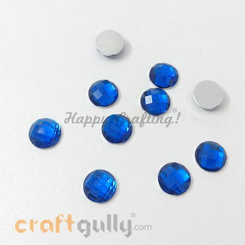 Rhinestones 8mm Round - Royal Blue - Pack of 30