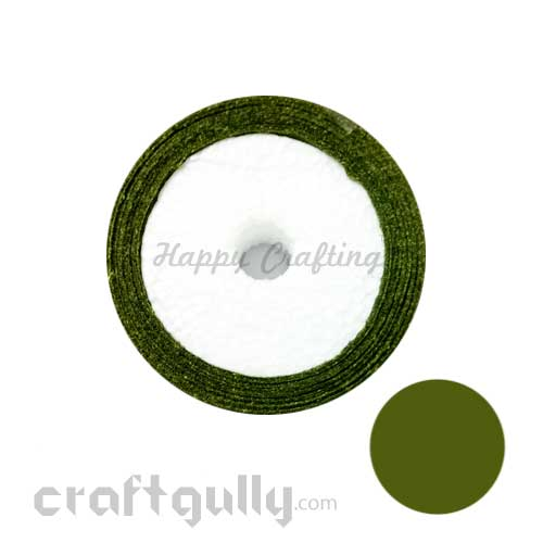 Satin Ribbons 1/4 inch - Olive Green - 8 meters