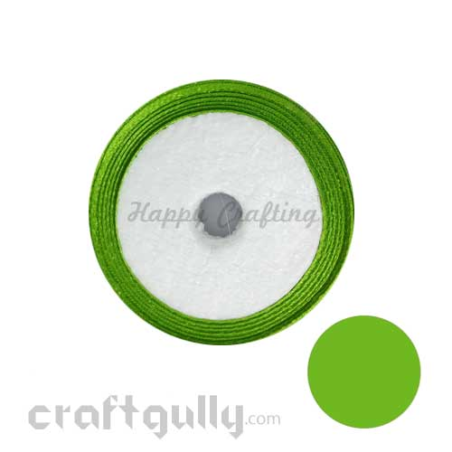 Satin Ribbons 1/4 inch - Grass Green - 8 meters
