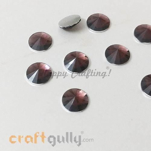 Rhinestones 10mm - Round Diamond Faceted - Burgundy - Pack of 10