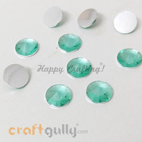 Rhinestones 10mm - Round Diamond Faceted - Teal - Pack of 10
