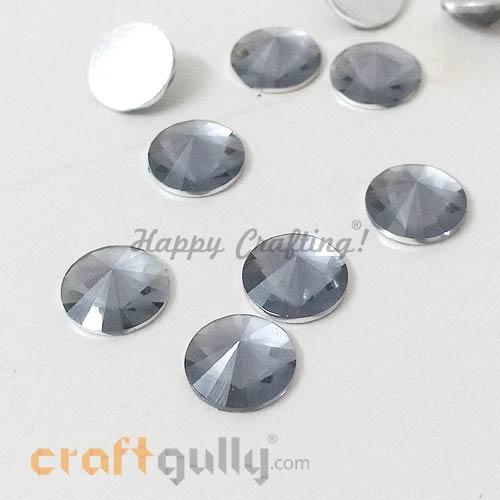 Rhinestones 10mm - Round Diamond Faceted - Grey - Pack of 10