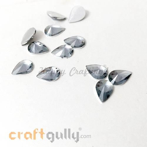 Rhinestones 10mm - Drop Diamond Faceted - Grey - Pack of 10