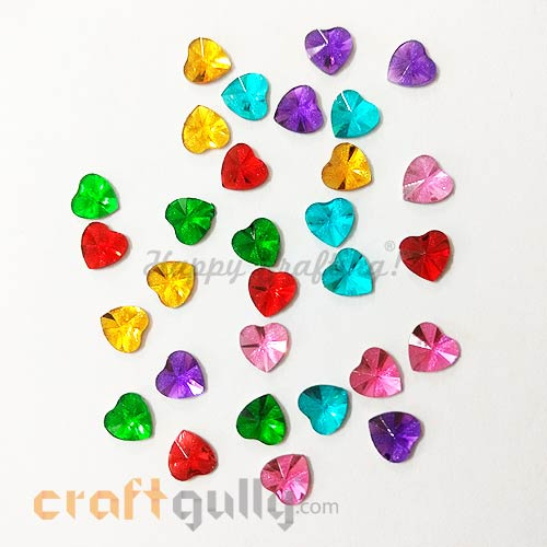 Rhinestones 7mm - Heart Faceted - Assorted With Texture - Pack of 30
