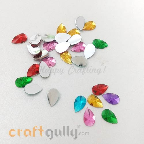 Rhinestones 7mm Drop Diamond Faceted - Assorted With Texture..