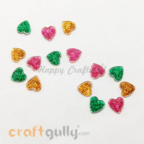 Flatback Acrylic 7mm - Heart - Assorted With Glitter - Pack of 15