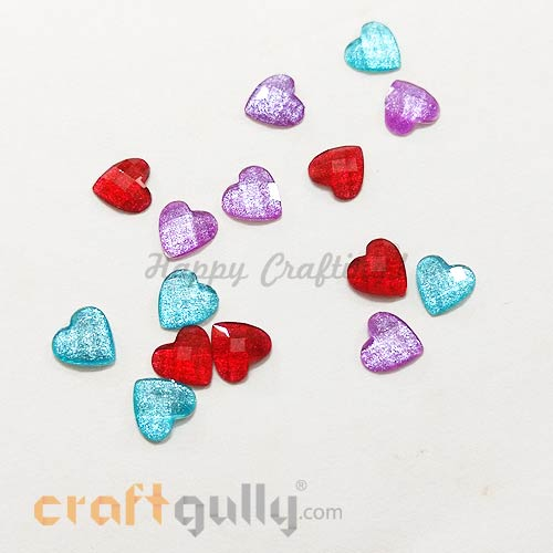 Flatback Acrylic 7mm - Heart Faceted - Assorted With Shimmer - Pack of 15