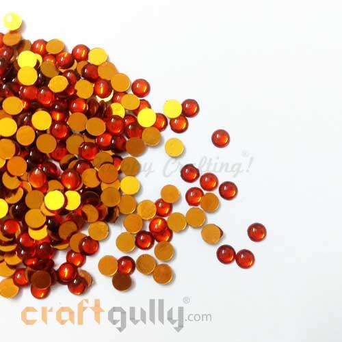 Kundan Stones 5mm - Round - Orange - 10gms