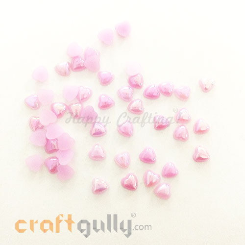 Flatback Acrylic 6mm Heart - Lilac With Lustre - Pack of 30