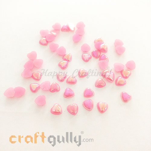 Flatback Acrylic 6mm Heart - Pink With Lustre - Pack of 30