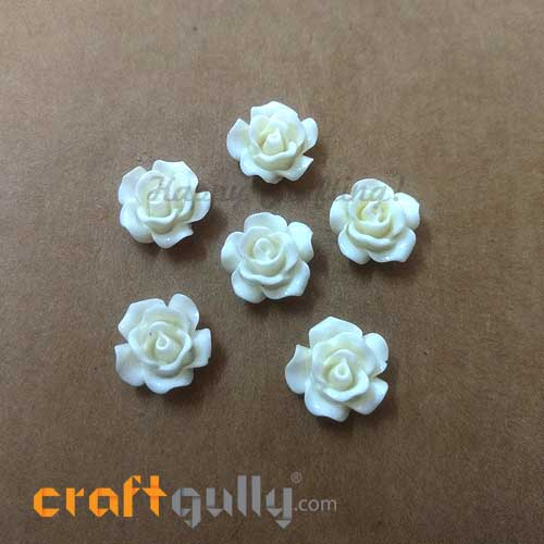 Flatback Resin 12mm - Flower #5 - Off White - Pack of 6